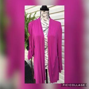 EUC August Silk Hot Pink Cardigan - Size Large